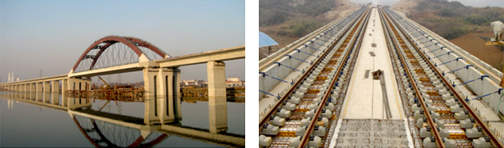 Dongho River Arch Bridge, Concrete track skeleton assembly